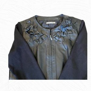 Peter Nygard Black Leather and Knit Jacket Woman